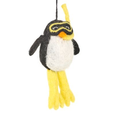 Handmade Felt Biodegradable Christmas Diving Penguin Hanging Decoration