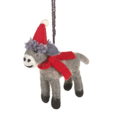Handmade Felt Biodegradable Christmas Donkey Tree Hanging Decoration