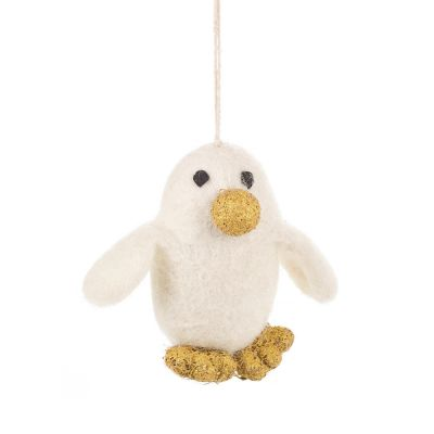 Handmade Felt Biodegradable Christmas Golden Penguin Hanging Decoration