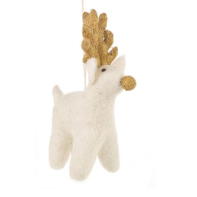 Handmade Felt Biodegradable Christmas Golden Rudolph Hanging Decoration