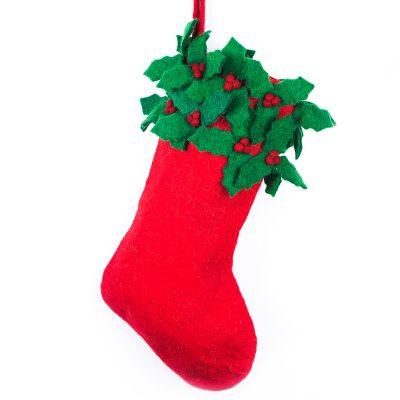 Handmade Felt Biodegradable Christmas Holly Medium Stocking