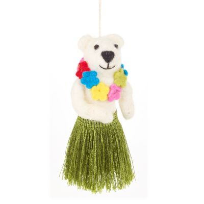 Handmade Felt Biodegradable Christmas Hula Bear Hanging Decoration