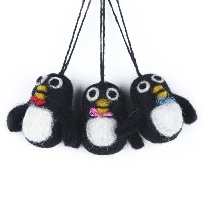 Handmade Felt Biodegradable Christmas Mini Penguins (Set of 3) Hanging Christmas Decoration