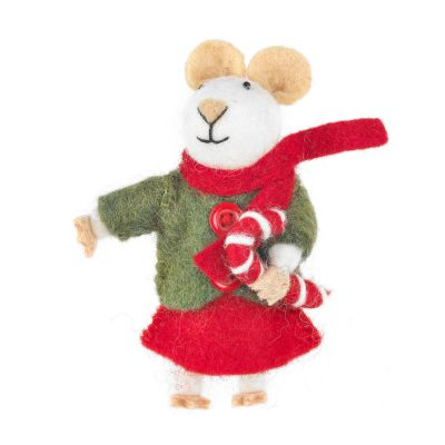 Handmade Felt Biodegradable Christmas Mouse Tree Hanging Decoration