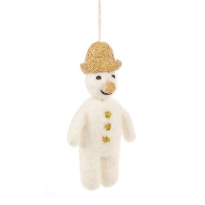 Handmade Felt Biodegradable Christmas Golden Mr. Snowman Hanging Decoration
