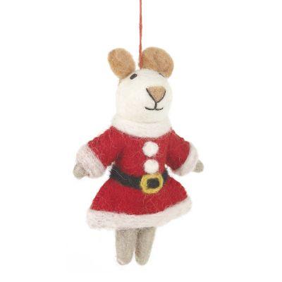 Handmade Felt Biodegradable Christmas Mrs Santa Paws Hanging Decoration