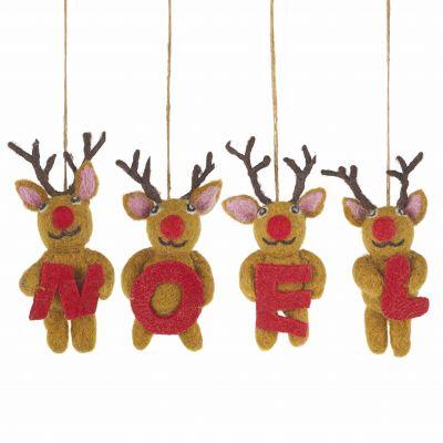 Handmade Felt Biodegradable Christmas Noel Reindeer Hanging Decoration