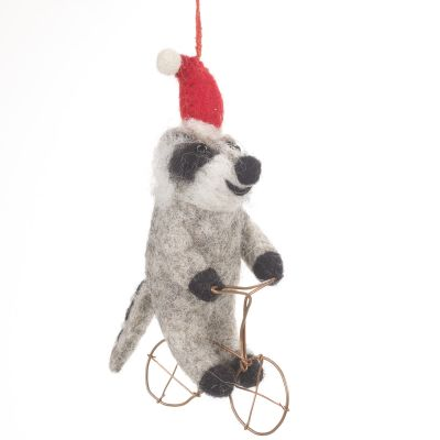 Handmade Felt Biodegradable Christmas Racooon on Bike Hanging Decoration