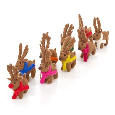 Handmade Felt Biodegradable Christmas Santa's Reindeer (Set of 9) Hanging Decoration