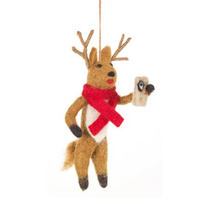 Handmade Felt Biodegradable Christmas Selfie Rudolph Hanging Decoration