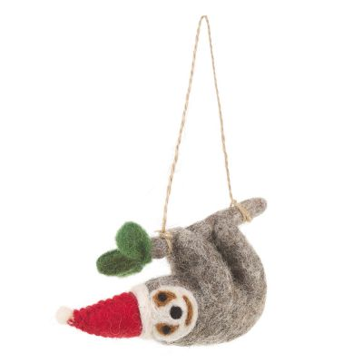 Handmade Felt Biodegradable Christmas Sloth Tree Hanging Decoration
