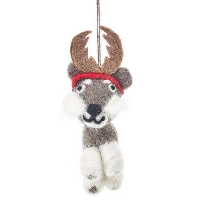 Handmade Felt Biodegradable Festive Hugo the Dog Hanging Christmas Tree Decoration