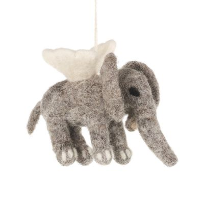 Handmade Felt Biodegradable Hanging Flying Elephant Decoration
