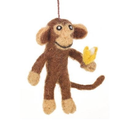 Handmade Felt Biodegradable Hanging Maurice Monkey Decoration