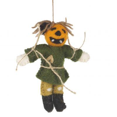 Handmade Felt Biodegradable Hanging Pumpkin Scarecrow Halloweeen Decoration