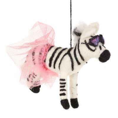 Handmade Felt Biodegradable Hanging Sassy Zebra Safari  Decoration