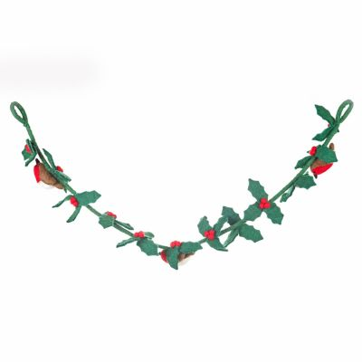 Handmade Felt Biodegradable Holly Garland with Robins Christmas Decoration