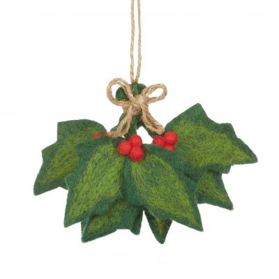 Handmade Felt Biodegradable Holly Sprig Christmas Hanging Decoration