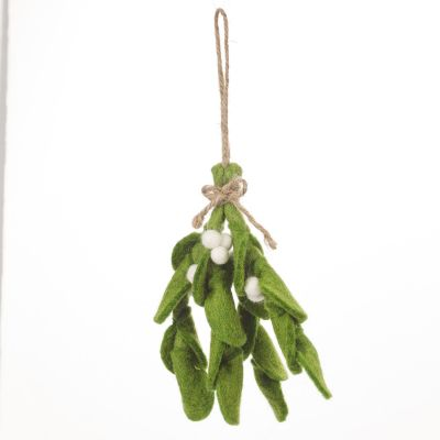 Handmade Felt Biodegradable Mistletoe Sprig Christmas Hanging Decoration
