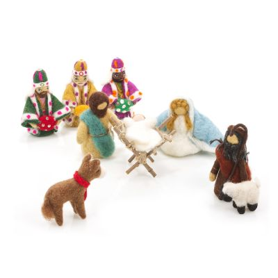 Handmade Felt Biodegradable Nativity Set Christmas Decoration