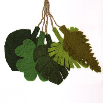 Handmade Felt Hanging Botanical Leaves Set of 5 Decorations