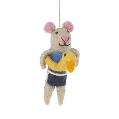 Handmade Felt Buoyant Mouse Hanging Felt Decoration