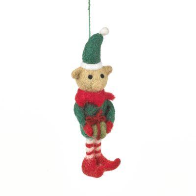 Handmade Felt Cheeky Elf Hanging Christmas Decoration