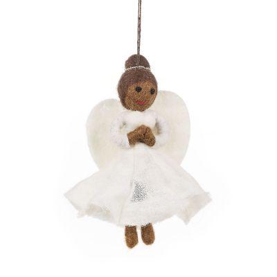 Handmade Felt Fair trade Black Christmas Angel Hanging Tree Decoration