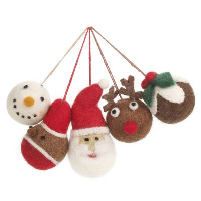 Handmade Felt Christmas Character Baubles Hanging Tree Decorations