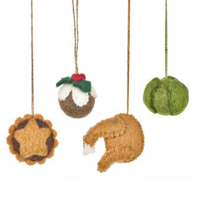 Handmade Felt Christmas Grub Christmas Dinner Decorations Set of 4