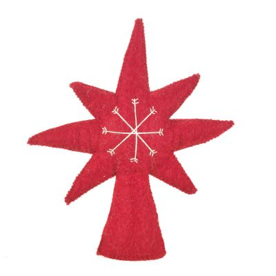 Handmade Felt Crimson Star Christmas Tree Topper Decoration