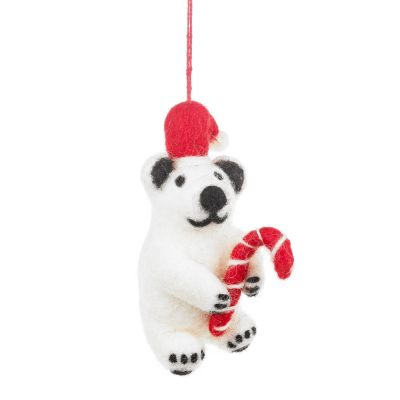 Handmade Felt Colin Christmas Polar Bear Hanging Decoration