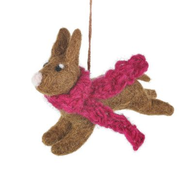 Handmade Felt Cosy Country Hare Hanging Biodegradable Decoration