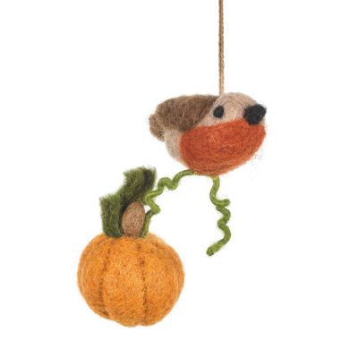 Handmade Felt Country Robin Hanging Decoration
