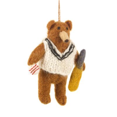 Handmade Felt Cricket Bear Hanging Biodergadable Decoration