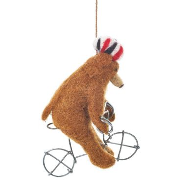 Handmade Felt Cycling Bear Hanging Biodergadable Decoration