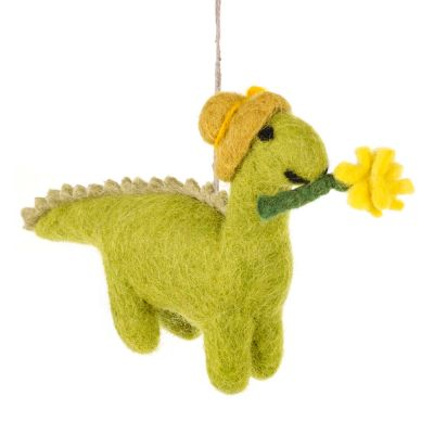 Handmade Felt Daphne Dinosaur Hanging Easter Decoration