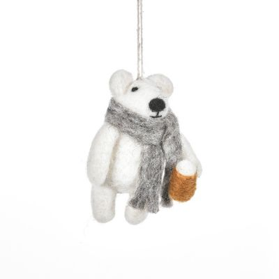 Handmade Needle Felt Drinkin' Polar Bear Hanging Christmas Decoration