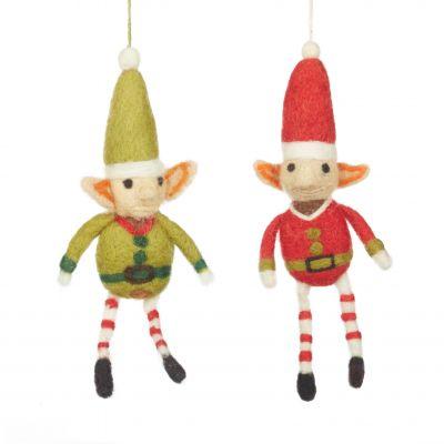 Handmade Felt Elf Christmas Tree Hanging Decoration
