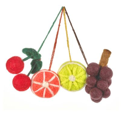 Handmade Needle Felt Hanging Fabulous Fruits (Set of 4) Decorations