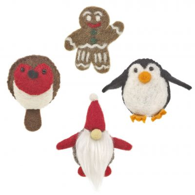 Handmade Felt Fair trade Accessory Christmas Character Badge