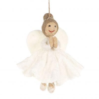 Handmade Felt Fair trade Christmas Angel Hanging Tree Decoration