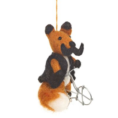 Handmade Felt Fair trade Hanging Hank the Fox Decoration