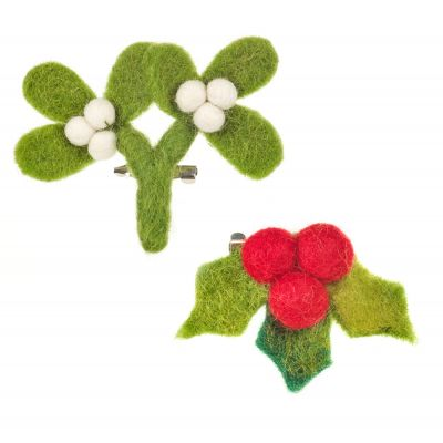 Handmade Felt Fair trade Mistletoe Brooch Christmas Accessory