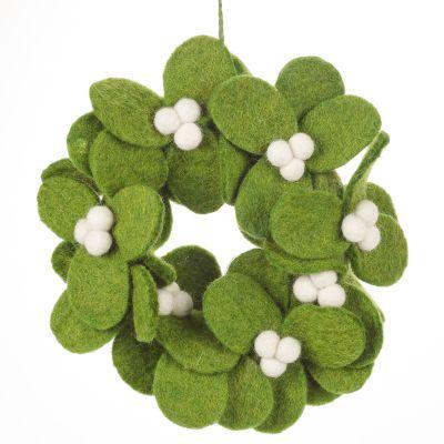 Handmade Felt Fair tade Mistletoe Mini Wreath Christmas Decoration