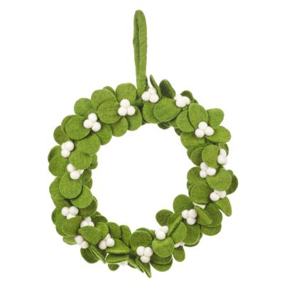 Handmade Felt Fair trade Mistletoe Wreath Christmas Décor