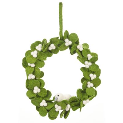 Handmade Felt Fair trade Mistletoe Wreath with Dove Christmas Décor