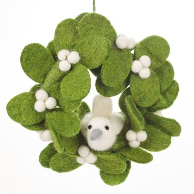 Handmade Felt Fair tade Mistletoe Mini Wreath with Doves Christmas Decoration