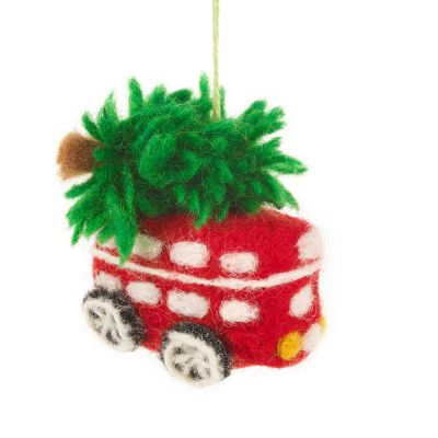 Handmade Felt Festive London Bus Christmas Tree Hanging Decoration