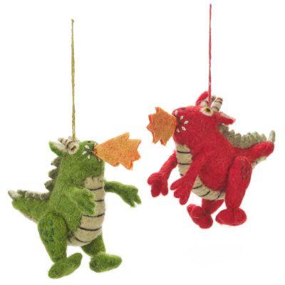 Handmade Felt Fire Dragon Hanging Biodegradable Decoration